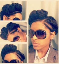 We found and we like. Mix of twist puffs,flat twists and corn rows. Very original and inspiring. A stylish example of a low manipulation style