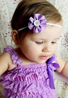 Lavender Purple and White Ruffled Flower Headband  by leilei1202