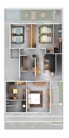 Planos de Casas y Plantas Arquitectónicas de Casas y Departamentos: Plano de residencia con estancia y tres recámaras en suite