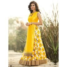 cefe057368 Buy ZHot Fashion Women's Floral Printed Un-stitched Anarkali Style Top And  Lehenga In Silk Fabric Yellow Online India - 5944053. Craftsvilla