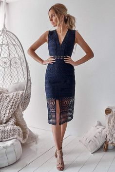 Hvar dress - navy Concealed back zipper Polyester Thick lining - not sheer (recommended with nude underwear) Model is wearing a size Model is tall Mode. Navy Midi Dress, Lace Dress, Scarlett Dresses, Black Crochet Dress, Crochet Dresses, Navy Lace, Weekend Outfit, Look Fashion, Outfits For Teens