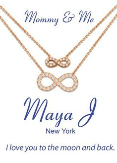 This Mommy and me infinity necklace is the perfect way to show your child that you love them to the moon and back!  Mommy and me necklace set features sparkling CZ infinity pendant.  Imported.