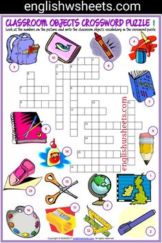 Classroom Objects Esl Printable Crossword Puzzle Worksheets For Kids #classroom #Objects #Esl #Printable #Crossword #Puzzle #Worksheets #language #arts #languagearts