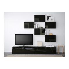 BESTÅ TV storage combination - black-brown/Selsviken high-gloss/black, drawer runner, push-open - IKEA