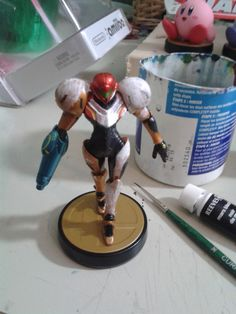 Here is my light suit Samus amiibo, w.i.p two. Starting with the white paint.