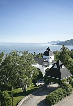 La Pinsonnière. Hotel and restaurant on a big river. La Malbaie (Québec), Canada. Unique in the world: In this stunning location, in the heart of the biosphere reserve, on the banks of the majestic Saint-Laurent River #relaischateaux #pinsonnière #canada #quebec