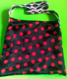 Polkadot Tote/Green,black w/black and red and black polkadots by handbags, art, paintings,side bags, upcycled, fashion, barbie