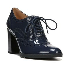 Women's Franco Sarto 'Maze' Oxford Pump ($99) ❤ liked on Polyvore featuring shoes, twilight navy patent leather, oxford lace up shoes, navy patent leather shoes, oxford shoes, vintage oxford shoes and navy blue patent leather shoes