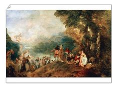 16 inch Photo. Jean-Antoine Watteau (1684-1721). Embarkation for
