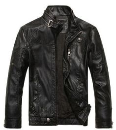 Men Zip Up Button Collar Faux Leather Jacket