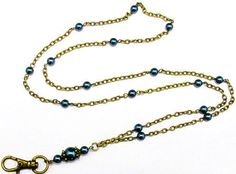ID Badge Lanyard Beautiful Pearls in Antique by byBrendaElaine