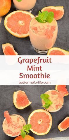This grapefruit mint smoothie is packed with fiber and vitamin C. It's a perfectly refreshing low-calorie weight loss smoothie! Find the recipe on BetterMeforLife.com