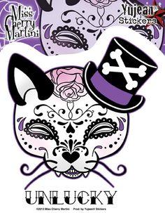 sugar skull cat tattoo F3aJhKPD