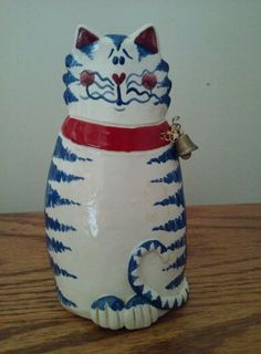 Pottery Sculpture Cat Vase Figure Red White Blue Bell Artist Signed abt.6""
