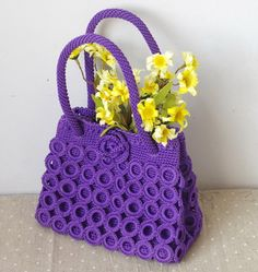 Macrame Bag, Knitted Bags, Crochet Accessories, Knitting Stitches, Straw Bag, Handbags, Collection, Bag Design, Crochet Pouch