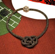 Two in One / Brown Beaded Crochet Rope Knot Necklace / by NoHoJo, $132.00