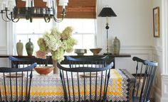 Traditional Dining Design Ideas, Pictures, Remodel and Decor Farmhouse Dining Room Table, Dining Room Table Decor, Dining Room Walls, Dining Room Design, A Table, Dining Chairs, Room Chairs, Rustic Table, Wood Table