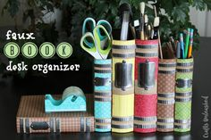DIY Desk Organizer with Faux Books - Crafts Unleashed ~ made from mache' book boxes!