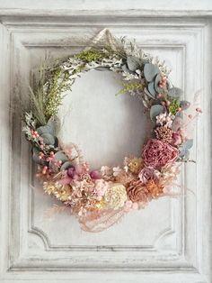 Wreath bouquet :アンティークピンクのリースブーケ&ブートニア | ハンドメイドマーケット minne