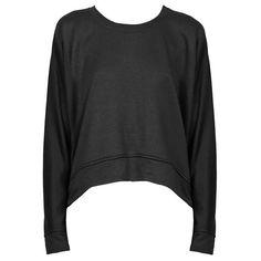 ALEXANDER WANG T French Terry Sweatshirt found on Polyvore featuring tops, hoodies, sweatshirts, sweaters, shirts, sweatshirt, extra long sleeve shirts, black top, french terry tops and black long sleeve shirt