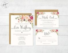 Floral Wedding Invitation Printable Wedding by DarlingPaperCompany