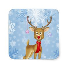 Christmas Reindeer Square Sticker by Ricaso_Greetings