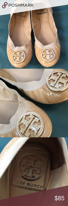 Tory Burch ballet slippers Beautiful Patton leather nude Tory Burch with  that gold emblem on the