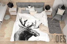 Sypialnia po skandynawsku, drewno, biel i szarość,