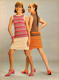 Neon Orange and Hot Pink Dropped Waist Dresses. 1960s fashions by Spinnerin.
