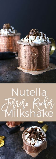 Nutella and Ferrero Rocher candies go so well together. That's why I combined them in this Nutella Ferrer Rocher milkshake.#recipe #easy #nutellamilkshake #milkshake #withicecream #icecream #steakandshake #chocolate #food #drinks #treats #fun #ferrerrocher #homemade #tasty #nutella #howtomakea #simple