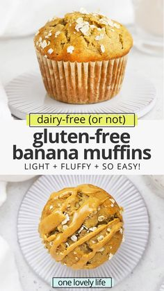 Gluten-Free Banana Muffins - This popular banana muffin recipe is the BEST! With the golden tops and fluffy middles, you'd never know they're gluten-free and dairy-free! // Best Gluten Free Banana Muffins Recipe // Healthy Banana Muffins Recipe // Healthy Gluten Free Banana Muffins // Gluten Free Banana Oatmeal Muffins #muffins #banana #glutenfree #healthysnack #packedlunch Oatmeal Bread Recipe, Banana Oatmeal Muffins, Healthy Banana Muffins, Gluten Free Banana Bread, Healthy Muffin Recipes, Gluten Free Muffins, Gluten Free Baking, Gluten Free Desserts, Clean Eating Breakfast