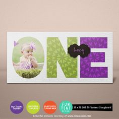 One First Birthday Girl 10x20 Photo Storyboard  by FUNTENTDESIGN, $8.00