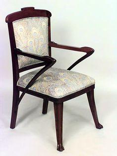 Art Nouveau Art Nouveau seating chair/set walnut