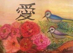 Modern-Chinese-Painting-Love-Birds-Peonies-Flowers-by-Paula-Gabay-Original-Oil #OilPaintingLove