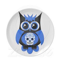 Blue Sugar Skull Owl Plate  Owl + Wifey