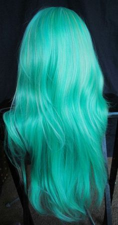 Hair Color Blue, Cool Hair Color, Hair Colors, Pastel Colors, Teal Hair, Mint Green Hair, Pastel Mint, Green Wig, Ombre Hair
