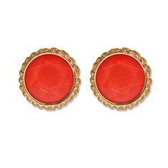 Orange Round Jewel Earrings