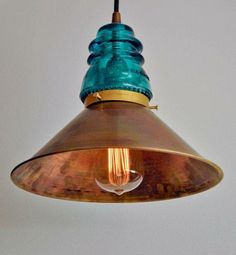 Copper shade and green insulator.