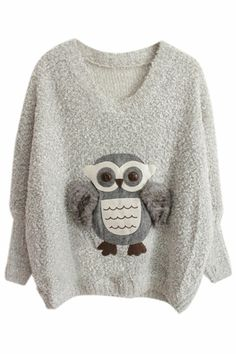 Grey Long Sleeve Owl With Furry Wing Sweater EUR€27.08