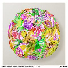 Cute colorful spring abstract floral round pillow