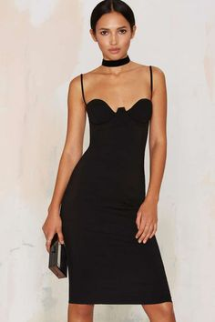 Rare London Monroe Midi Bodycon Dress - Black