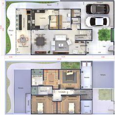 Planta de sobrado moderno com 3 quartos. Planta para terreno 10x20 Modern House Plans, Dream House Plans, House Floor Plans, Casa Duplex, Bungalow, Craftsman Floor Plans, House Drawing, Tiny House Cabin, Plan Design