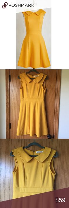 """Foxtail & Fern Dress in Goldenrod by Sunny Girl Foxtail & Fern Dress in Goldenrod by Sunny Girl • 95% polyester 5% spandex • fabric provides stretch • machine wash • bust 18"""" waist 16"""" length 37"""" • worn 1 or 2x and laundered • exposed metal back zipper • Peter Pan collar • banded waist • back dart seams and princess seamed bust • ModCloth Dresses Midi"""