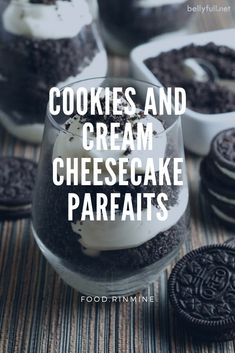 Cookies and Cream Cheesecake Parfaits Healthy Meals For One, Healthy Recipes On A Budget, Healthy Breakfast Recipes, Chocolate Chip Recipes, Chocolate Chips, Cookies And Cream Cheesecake, Instant Recipes, Food Processor Recipes, Food To Make