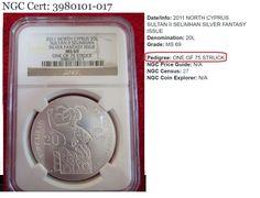 North Cyprus 2011 Sultan Turkish Lira Fantasy .999 Silver Matte Coin NGC MS69