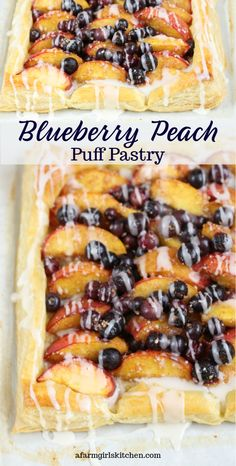 Pastry Blueberry Peach Tart on puff pastry with a vanilla icing is perfect for a quick dessert, breakfast, or brunch.Puff Pastry Blueberry Peach Tart on puff pastry with a vanilla icing is perfect for a quick dessert, breakfast, or brunch. Mini Desserts, Blueberry Desserts, Easy Desserts, Delicious Desserts, Homemade Desserts, Blueberry Pastry Recipe, Desserts With Puff Pastry, Desserts With Blueberries, Sweet Puff Pastry Recipes