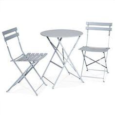 Salon De Jardin Bistrot Pliable Emilia Rond Gris Taupe Table 60cm Avec Deux Ch ALICE S GARDEN