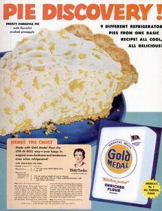 Gold Medal pie crust recipe... one pan method... Frosty Pineapple Pie