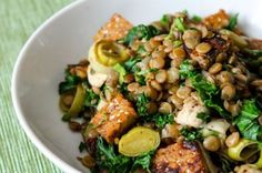Lentil, Kale, and Tempeh Saute by Eat Spin Run Repeat This recipe is for one person, need to double!