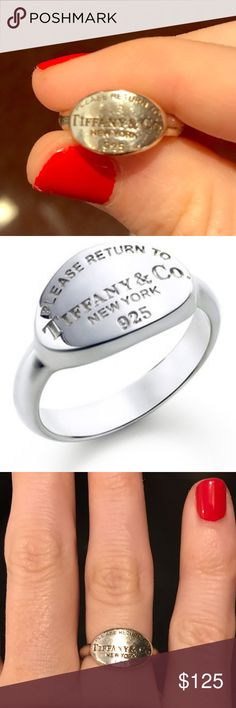Please Retrun to Tiffany Oval Ring Please Return to Tiffany ring size 6. 100% authentic. Comes with box and pouch. I ship same or next day. Tiffany & Co. Jewelry Rings
